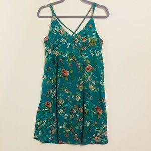 Xhiliration Green Floral Crisscross Straps Dress